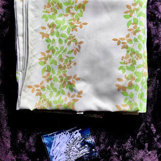 レモンイエロー 葉っぱ柄 カーテン 2枚