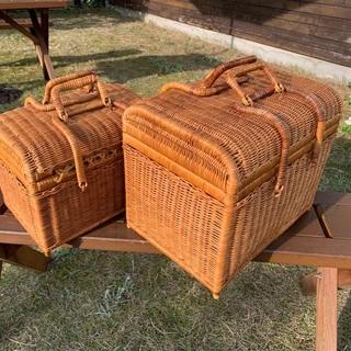 籐のピクニックバスケット 2個セット