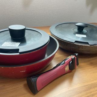ニトリ 取っ手が取れるフライパン2つ、小鍋1つ、フタ2つ
