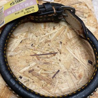 手縫い丸首輪(鋲付) 黒 中型犬用