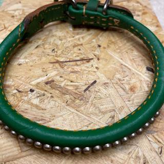 手縫い丸首輪(鋲付) 緑 中型犬用