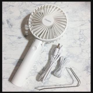 ꒰未使用꒱携帯用2wayミニ扇風機 白 小型ファン 首掛け 卓上...
