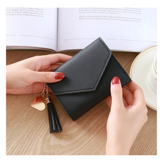 【ネット決済・配送可】ミニ財布 ミニウォレット 黒 ブラック 新品
