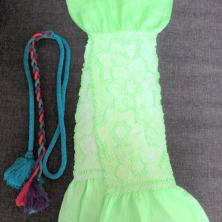 絞り帯揚げと帯締めのセット(緑系)