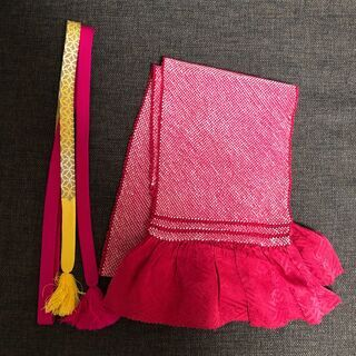 絞り帯揚げと帯締めのセット(赤ピンク系)