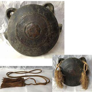 e722 銅製 鰐口 巾14cm 銅造鰐口 わに口 古道具 銅鐘 仏具