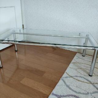 美品 ガラス ローテーブル