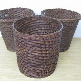 木製 編みかご 3個セット 収納かご バスケット