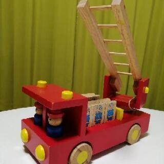 【ネット決済】木製はしご車 知育玩具
