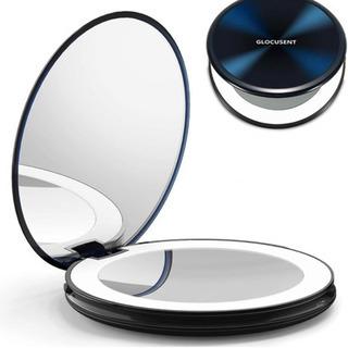 新品未使用、化粧鏡 化粧ミラー コンパクトミラー 鏡 ledライ...