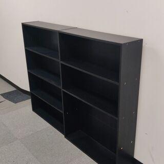 山善 本棚4段×2(コミック収納ラック、カラーボックス)
