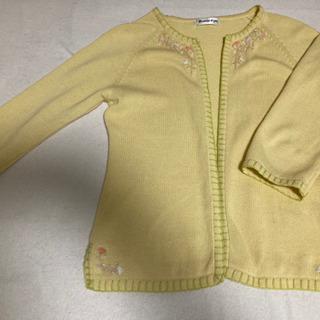 花柄刺繍・ステッチ入り・レモンイエロー:かがり編み・ニット7分袖...