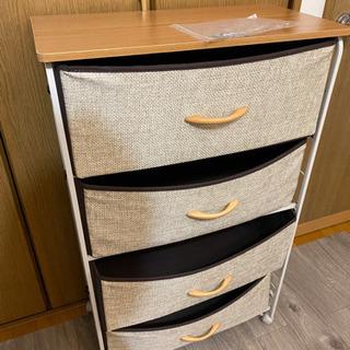 4段チェスト 収納ボックス 不織布 布製 木製天板