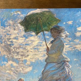 モネ。散歩、日傘をさす女性絵画シール式壁紙ポスター