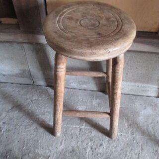 丸椅子 昭和レトロ 木製 4本脚