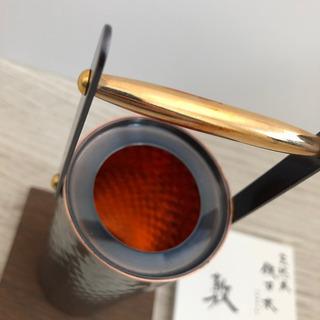 新光金属 純銅 黒銅仕上げ 真心 鎚目一輪挿し 手桶小 B…