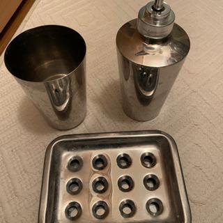 ステンレス洗面所用品3点セット ディスペンサー コップ ソ…