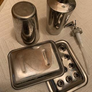 ステンレス洗面所用品3点セット ディスペンサー コップ ソープディッシュ - 立川市