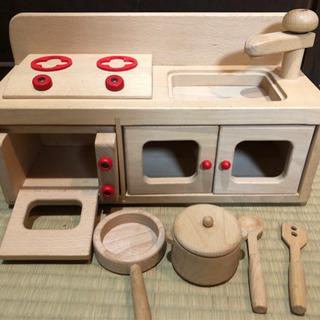 【ネット決済】ミニキッチンセット 木製 ままごと