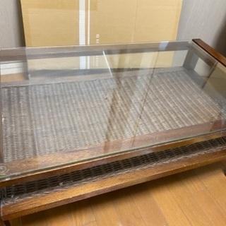ラタン ガラス ローテーブル