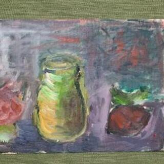 絵画『花瓶と果物①』油絵