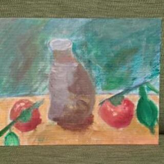 絵画『花瓶と果物②』油絵