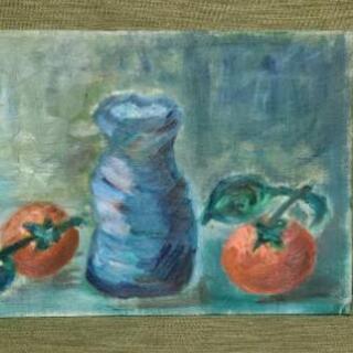 絵画『花瓶と果物③』油絵