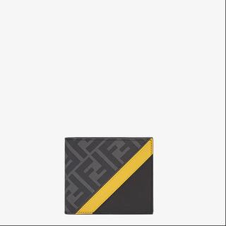 【ネット決済】fendi財布 ff柄 グレーファブリック 二つ折り財布