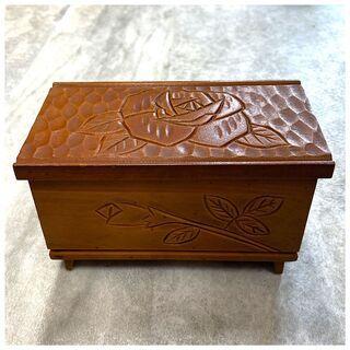 【ネット決済・配送可】木製 オルゴール バラ柄 懐かしい 小箱 ...