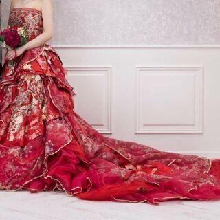 ウェディングドレス カラードレス 赤 花