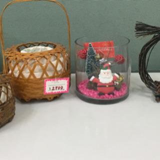 クリスマスのガラスケース付きエアープランツ 竹網の花入 植木入れ...