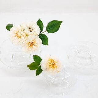 【未使用】 ドーナツ型 ガラス製 花器 フラワーベース 一輪挿し...