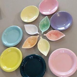 木の葉型の小皿とスプーン 中古美品