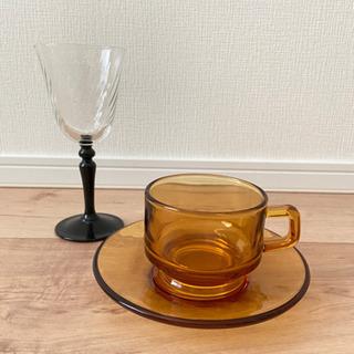 値下可⭐︎耐熱ガラスのティーカップ&ソーサー⭐︎ワイングラスおまけ付き
