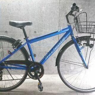 自転車中古クロスバイク Reciente 外装7段変速 カゴ鍵付...