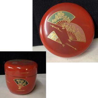 e736 棗 木製 漆塗 扇子紋 茶道具
