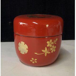 e737 棗 木製 漆塗 花紋 茶道具