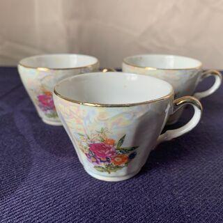バラ柄コーヒーカップ3点セット