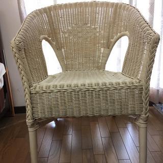 ★お値引★ホワイト ラタン チェア 籐 椅子