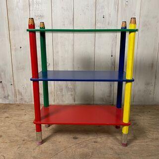 鉛筆調 木製 3段 棚 カラフル インテリア 家具 菊KK