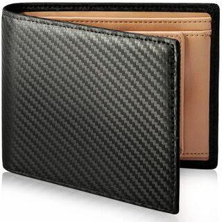 【新品・未使用】財布 メンズ 二つ折り カーボンレザー box型
