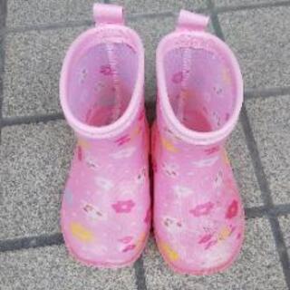 【美品】ベビー 長靴 ピンク ウサギ 14cm