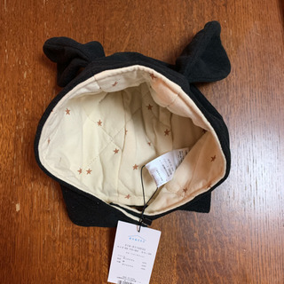 新品未使用 タグ付き 赤ちゃん わんちゃん帽子 ブラック