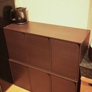 ダークブラウンのシンプルな収納棚×2つ(5/23迄)