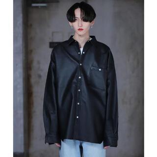 g.o.c フェイクレザーシャツ 韓国ファッション ビッグシルエット