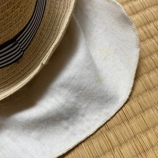 くまさん麦わら帽子(ベージュ) - 子供用品