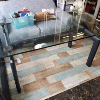おしゃれな4人掛けガラスダイニングテーブル幅150㎝