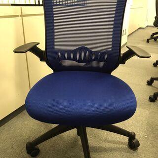 美品OAチェア(ブルー、座高調節可能、8脚)