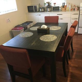 【ネット決済】アメリカン 家具 ダイニングテーブル イス4個、ベ...