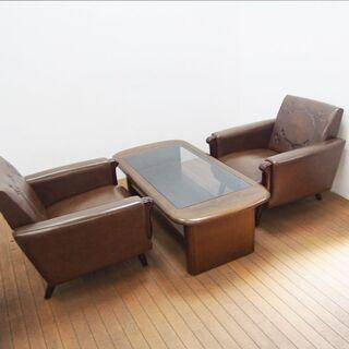 応接セット 椅子2脚 ローガラステーブル (HA60)